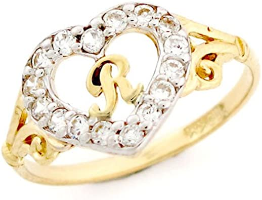 9ct oro en forma de corazón de la letra R CZ anillo con iniciales: Amazon.es: Joyería