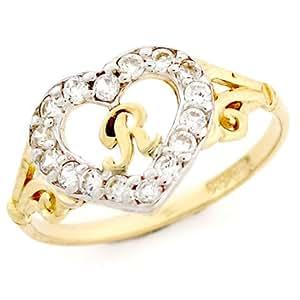 9ct oro en forma de corazón de la letra 'R' CZ anillo con iniciales