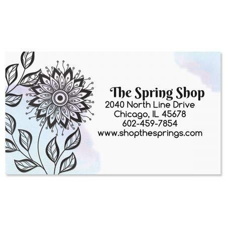 Ebony Bloom Foil Business Cards - Set of 250 2'' x 3-1/2'' custom business card design; 80# Cover Stock, Opaque, Matte