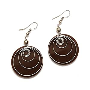 Pendientes hechos a mano Idin - marrón disco pendientes de gota de resina con Multi-círculo de (longitud: 5,5 cm)