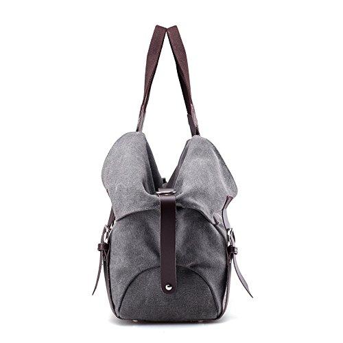 Solid Bag Canvas Retro High Commuter Leather Color capacity Handbag 4txU5qwx