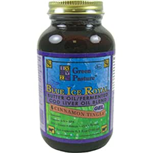 Green Pasture's Blue Ice Royal Butter Oil / Fermented Cod Liver Oil Blend - CINNAMON GEL - 8.1 fl.oz (240ml)
