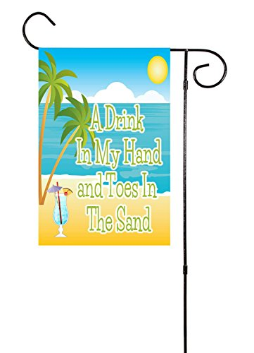 """[Drink In My Hand, Toes In the Sand Beach Garden Flag 12""""x18""""] (Sunset Traditional Hand Shower)"""