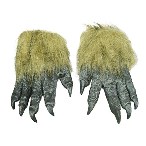 Lannmart 1 pcs Funny Halloween Horror Animals Wolf Claw Gloves Werewolf Gloves Ghostcrawler for Dressing Prop Cosplay Costumes Party