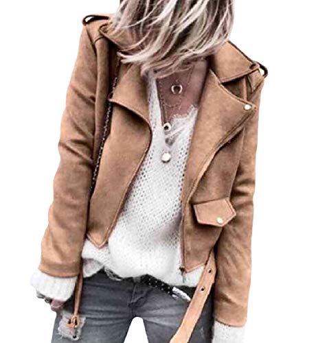 Down Long Down Turn XINHEO Khaki Solid Button Womens Zip Sleeve Business Collar Coat xwq0YaYtn4
