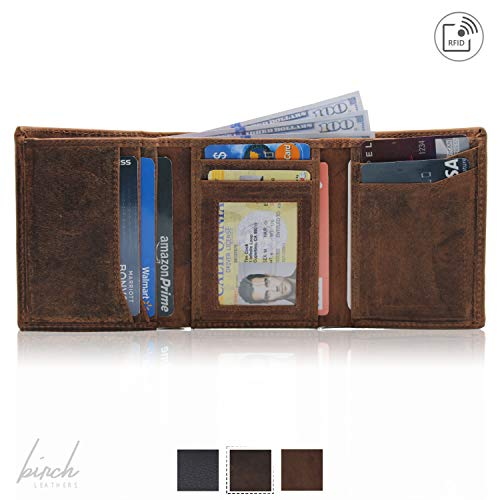 - RFID Leather Trifold Wallets for Men, minimalist, handmade & slim with id window