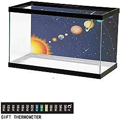 """Aquarium Background,Space,Solar System with Sun Uranus Venus Jupiter Mars Pluto Saturn Neptune Image,Dark Blue Orange Fish Tank Backdrop 72"""" L X 24"""" H"""