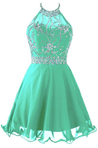 rt Beaded Prom Dress Halter Homecoming Dress Backless Mint US 4 ()