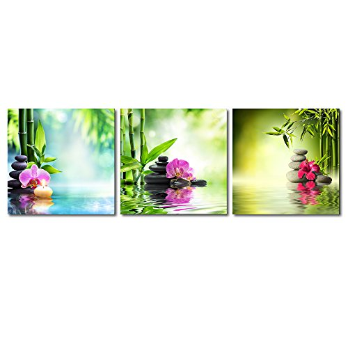 Pyradecor 3 Piece Spa Zen Stone Giclee Canvas Prints Wall Art Paintings Pictures for Living Room Bedroom Home Office Decor Modern Stretched and Framed Green Bamboo Pink Flowers Romance Artwork
