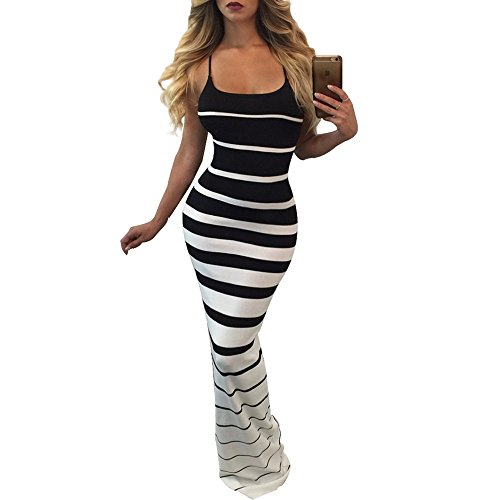 [Gamery Women's Casual Spaghetti Straps Stripes Bodycon Long Maxi Dresses White-Black Medium] (Black White Stripe Dress)