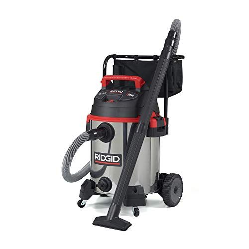 RIDGID 50353 1610RV Stainless Steel Wet Dry Vacuum, 16-Gallon Shop Vacuum with Cart, 6.5 Peak HP Motor, Large Wheels, Pro Hose, Drain, Blower Port from Ridgid