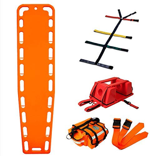 - First Responder EMT Backboard Spine Board Stretcher Immobilization with Head Bed and Spider Straps - Gift EMT Trauma Bag ... (Orange)