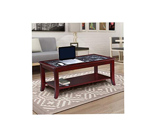 - Оlее Slееp 18 Dark Emperador Natural Marble (from Italy) Top Solid Wood Edge Coffee Table/End Table/Side Table/Office Table/Computer Table/Vanity Table/Dressing Table, (Black/Cherry Brown)