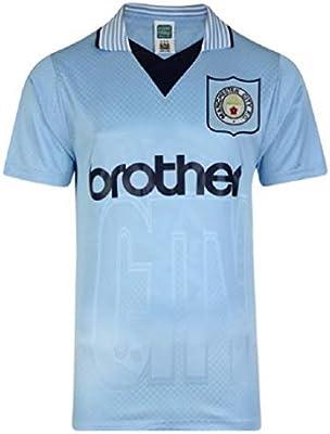 Manchester City 1996 Retro Camiseta, Unisex, Azul, Small: Amazon ...