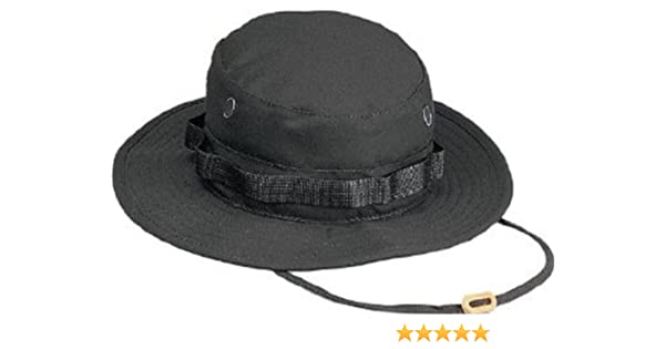 6eb11e87513 Amazon.com  Black Military Boonie Hat (Polyester Cotton) 5803 Size 7.75   Military Apparel Accessories  Clothing
