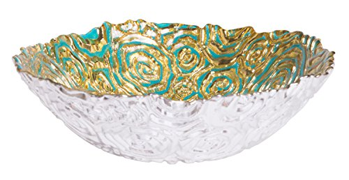 Turquoise Centerpiece Round Serving Platter Tray Catch-All Dish with Gold Vines Floral Pattern - 7.5 Inches dia, Food Safe for Dining/ Living Room/Home Dcor Fruit Holder