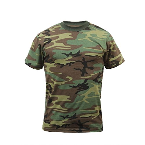 Melonie clothing Woodland Camo Military T-Shirt Camoflauge Us Army Navy Marine Corps