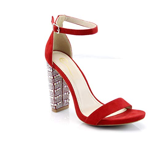 FOREVER VOGUE Women's Open Toe Chunky Block High Heel Fashion Sandals Ankle Strap Rhinestone Party Shoes Red
