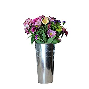 Galvanized French Tin Bucket for Indoor and Outdoor Fresh or Silk Flower Arrangements 15 Inches 97