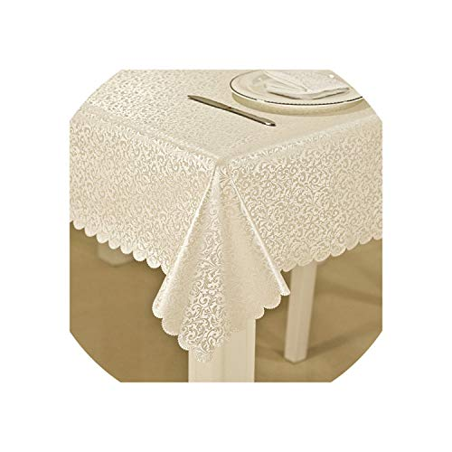 Waterproof Anti-hot Oil Table Cloth Jacquard Printed Flower Tablecloth Pattern Checked Rectangular Round Table Cloth,Silver White,120x180cm