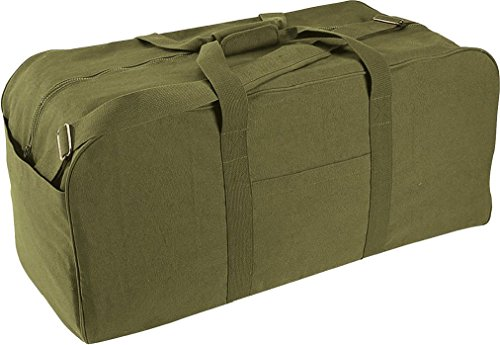 Jumbo Deluxe X-Large Military Assault Cargo Carry Duffle Bag with Strap (Deluxe Tri Fold Shovel)