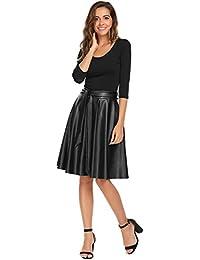 Women's PU Leather Midi Skirt Pleated High Waist Swing Skate Skirt With Belt