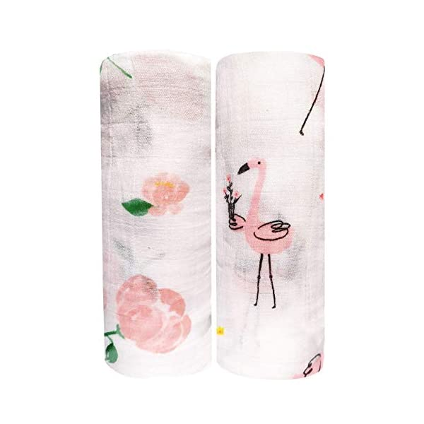 CareBabyWorld Baby Swaddle Blankets Large Unisex Muslin Swaddling Blanket 47×47 (2 Pack) Floral Swaddle Wrap Nursing Cover & Burping Cloth (Floral&Flamingo)