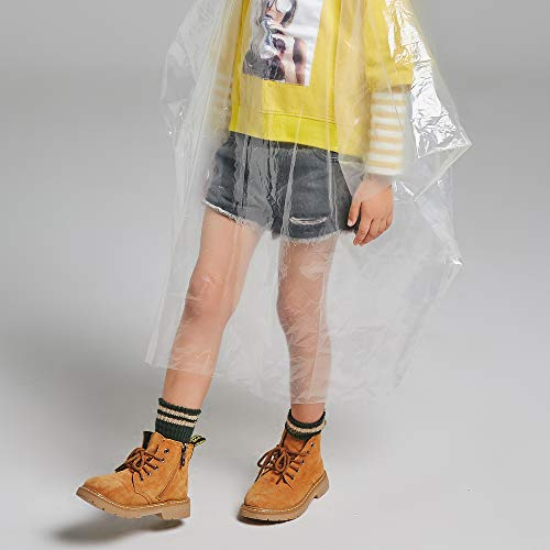 Disposable Rain Ponchos for Adults by(6 Pack) Including Drawstring Hood and Premium Quality 50% Thicker Material 100% Waterproof Emergency Rain Ponchos for Kids-Clear White (Clear Kids 6 Pack) by Timoch (Image #3)