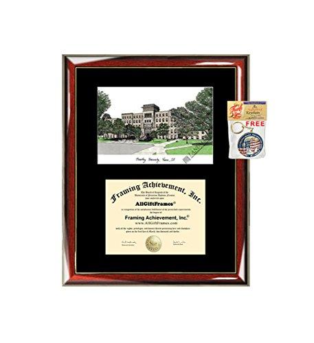 (Bradley University Diploma Frame Lithograph - Premium Wood Glossy Prestige Mahogany with Gold Accents - Single Black Mat - University Diploma Frame )