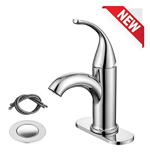 RKF Single Handle Bathroom Sink Faucet One Hole Deck Mount Lavatory Faucet with pop-up drain with overflow and water supply hoses,Chrome Polished,BF003SP-T2-CP