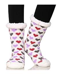 Dosoni Women's Fleece Lining Fuzzy Soft Christmas Knee Highs Stockings Slipper Socks