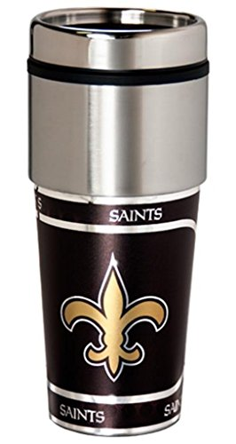 Great American Products NFL New Orleans Saints Metallic Tumbler, One Size, Black (New Orleans Saints Salute To Service Jersey)