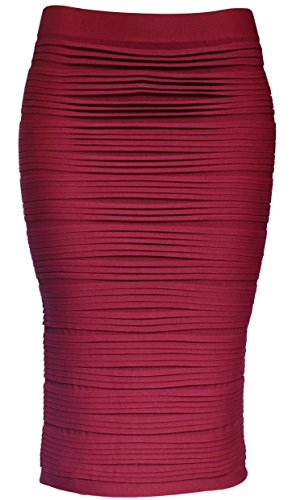 KMystic Strapless Tube Dress and Pencil Midi Bodycon Skirt in One (Burgundy) ()