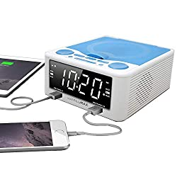 Hannlomax HX-300CD Top Loading CD Player, PLL FM Radio, 1.2 inches Digital Clock, Dual Alarm, USB Ports for 2.1A & 1.2A Charging, Aux-in (White)
