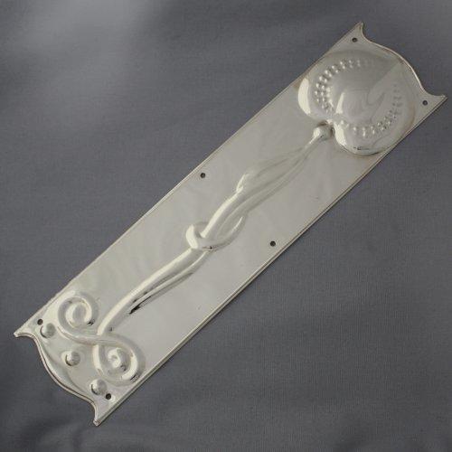 Art Nouveau Nickel Finger Plate Architectural Decor