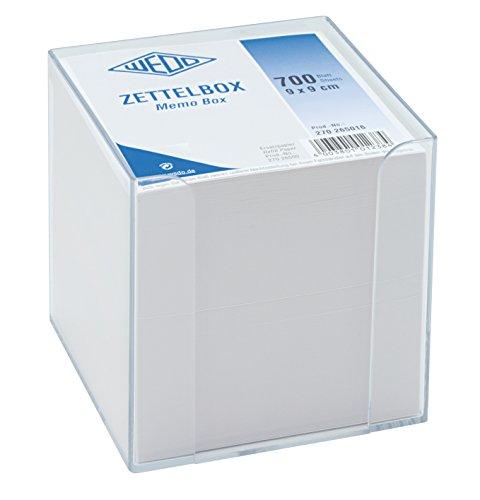 Wedo 270265016 Zettelbox 9,5 x 9,5 cm, Kunststoff transparent gefüllt (circa 700 Blatt weiß)