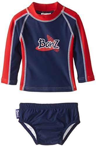 Baby Banz Baby Boys' Long Sleeve Rash Guard and Swim Diaper Set Navy Red, Navy/Red, 6 12 Months