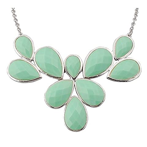 Jane Stone Mint Statement Flower Necklace Fashion Bib Chunky Wedding Jewelry (Fn0835-S-Mint) (Womens Chunky Jewelry)