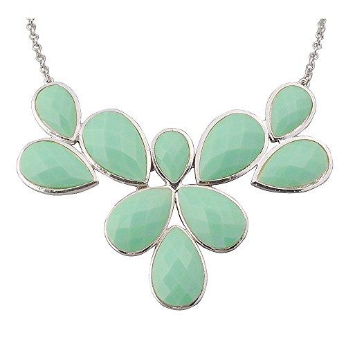 Chunky Necklace (Jane Stone Mint Statement Flower Necklace Fashion Bib Chunky Wedding Jewelry (Fn0835-S-Mint))