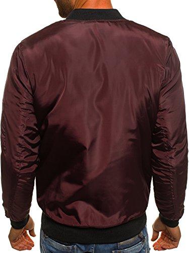 de Cuero para Chaqueta Style Vaquera Borgoña Ak95 Chaqueta Chaqueta Mix Capucha Chaqueta 3056 con style Jacket Invierno j OZONEE Hombres de J 4PFBxn