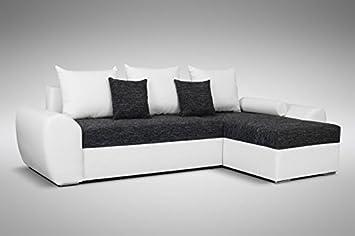 Schlafsofa Sofa Couch Ecksofa Eckcouch Schwarzweiss Schlaffunktion