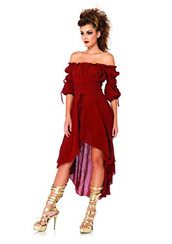 Leg Avenue Women's High Low Peasant Dress Costume, Burgundy, Medium/Large