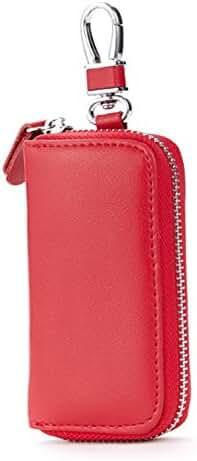 Men Leather Zip Around 6 Hook Key Case Car Key Holder Wallet