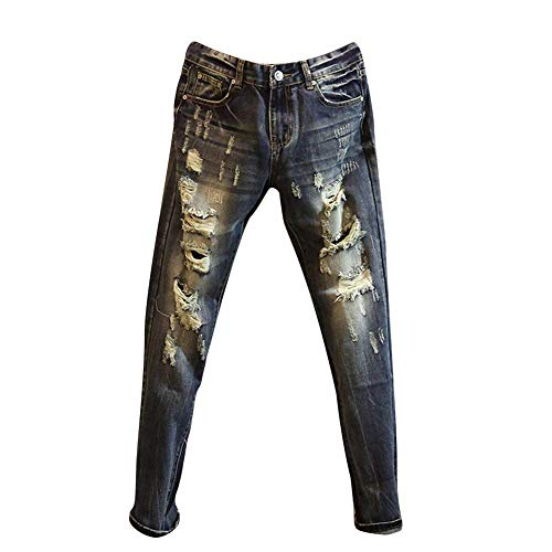 Skinny Lunghi Retrò Sottili Strappati Attillati Jeans Bolawoo Dritti Mode Pantaloni Da Dunkelblau Di Denim Marca Uomo In O0q7xx4pIw