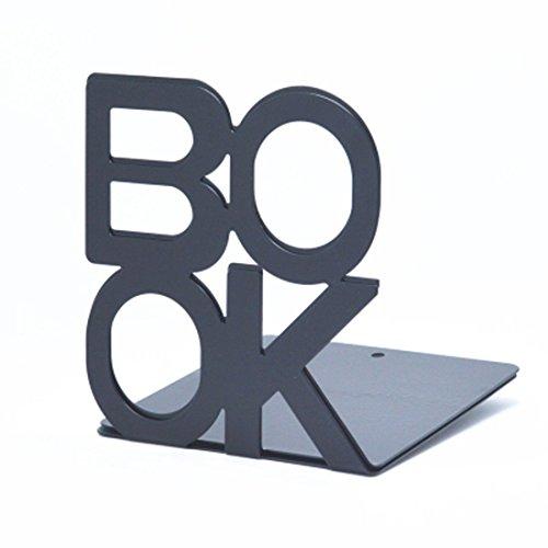Bookends Book End Book Organizer,KIXIGO Cute Fashion Book Style Nonskid Library School Office Home Study Metal Bookends Art Bookend Kitchen Book Shelf,1 Pair (Black) by KIXIGO