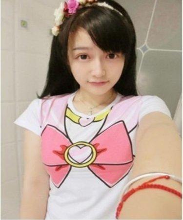 Sailor Moon Harajuku Sweater Print Top Cute Kawaii Cosplay Japan Anime (L, Short Pink)
