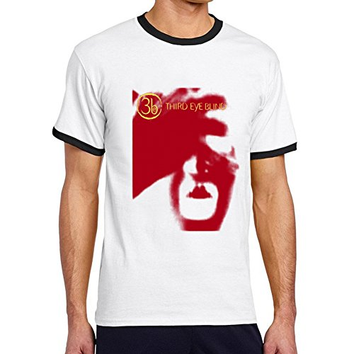 Men's Third Eye Blind Tour 2015 Fan Logo Ringer T-Shirts L White - Eye Ringer T-shirt
