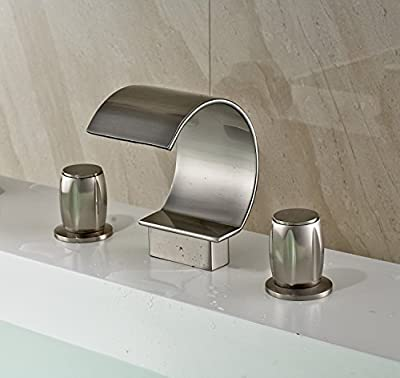 iFaucet Waterfall Brushed Nickel Bathroom Sink Faucet Vessel Faucet Widespread Modern Two Handle Three Hole Faucets Lavatory Faucets Unique Designer Plumbing Fixtures Mixer Taps Supply Lines