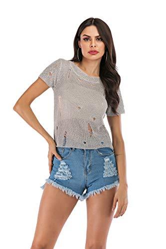 KUNLIHUANG Women's See Through Sheer Mesh Fishnet T Shirt Crocket Tops (Small, Silver 1)