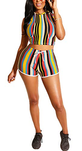 Halfword Women Stripe Two Piece Outfits Hood Jumpsuits - Short Sleeve Sport Jumpsuits Rompers Yellow-3 XXL